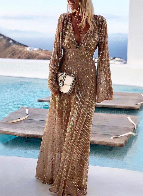 Sequins/Solid Long Sleeves A-line Party Maxi Dresses