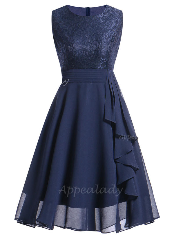 Lace/Solid Sleeveless A-line Knee Length Vintage/Party/Elegant Dresses
