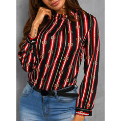 Print Striped Round Neck Long Sleeves Casual Blouses