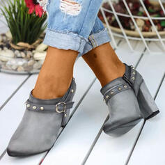 Women's Suede Chunky Heel Round Toe With Rivet shoes