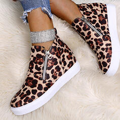 Women's Canvas Flat Heel Flats With Animal Print Zipper shoes