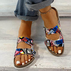 Women's Leatherette Flat Heel Sandals Flats Slingbacks Slippers With Button shoes