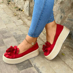 Women's Suede Flat Heel Flats Low Top With Flower shoes