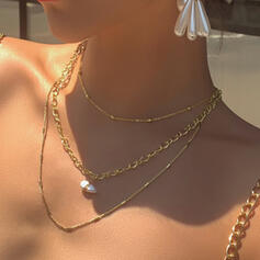 Link & Chain Artistic Alloy With Imitation Pearl Jewelry Sets Necklaces 3 PCS