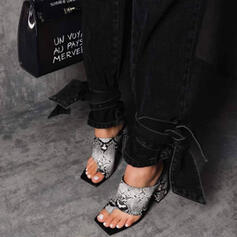 Women's PU Stiletto Heel Sandals Pumps Peep Toe Square Toe With Animal Print Hollow-out shoes