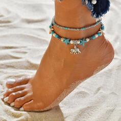 Boho Alloy Beads With Elephant Starfish Anklets (Set of 2)