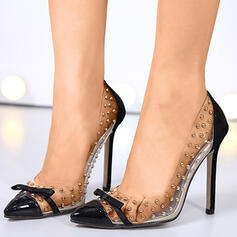 Women's PU Stiletto Heel Pointed Toe With Rivet Splice Color shoes