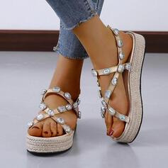 Women's Leatherette Wedge Heel Sandals Platform Peep Toe Slingbacks Slippers With Rhinestone shoes