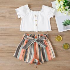 2-pieces Toddler Girl Button Striped Print Cotton Set