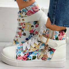 Women's Canvas Flat Heel Flats With Buckle Zipper Flower shoes