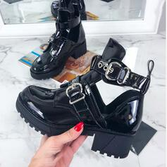 Women's PU Chunky Heel Martin Boots Round Toe With Buckle Hollow-out shoes