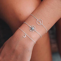 Simple Layered Alloy With Moon Bracelets (Set of 3)