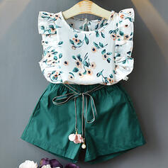 2-pieces Toddler Girl Ruffle Floral Print Cotton Set