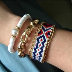 Exotic Boho Alloy Braided Rope Soft Clay With Imitation Pearl Bracelets (Set of 3)