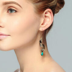 Leaves Shaped Twist Alloy Turquoise With Leaf Earrings (Set of 2)