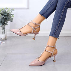 Women's PU Stiletto Heel Pointed Toe With Rivet Buckle shoes