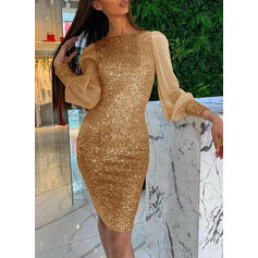 Sequins Long Sleeves/Lantern Sleeve Bodycon Knee Length Party Dresses