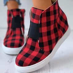 Women's Cloth Flat Heel High Top Espadrille With Zipper Splice Color shoes