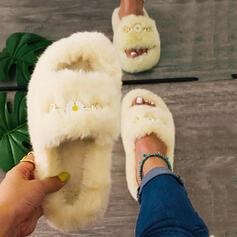 Women's Velvet Flat Heel Slippers With Faux-Fur shoes