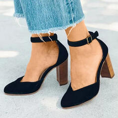 Women's Suede Chunky Heel Pointed Toe With Buckle shoes