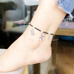 Exotic Boho Alloy Braided Rope With Tag Anklets