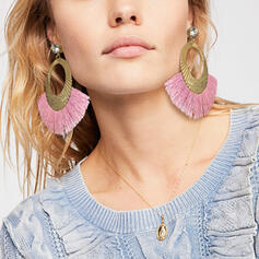 Attractive Alloy Cotton String With Tassels Earrings