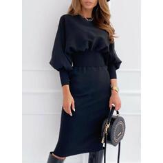 Solid Long Sleeves/Lantern Sleeve Bodycon Knee Length Little Black/Casual Dresses