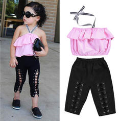 2-pieces Toddler Girl Ruffle Solid Cotton Set