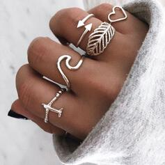 Wave Alloy With Heart Leaf Arrow Rings (Set of 5)