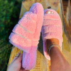 Women's Velvet Flat Heel Peep Toe Slippers With Faux-Fur shoes