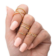 Stylish Simple Alloy Rings (Set of 6)