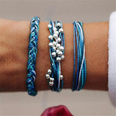 Boho Layered Alloy Braided Rope Women's Bracelets 3 PCS