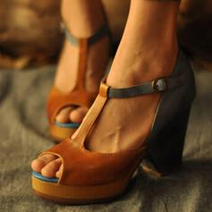 Women's PU Chunky Heel Peep Toe With Buckle shoes