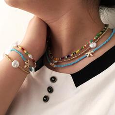 Boho Layered Alloy Beads With Imitation Pearl Starfish Jewelry Sets Necklaces Bracelets (Set of 6)