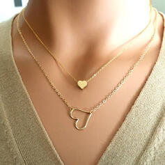 Heart Romantic Alloy With Heart Jewelry Sets Necklaces 2 PCS