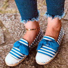 Women's Canvas Flat Heel Flats With Bowknot Splice Color shoes