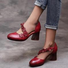 Women's PU Chunky Heel Round Toe With Buckle shoes