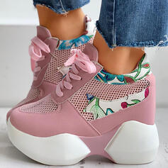 Women's Cloth Mesh Flat Heel Low Top Sneakers With Lace-up Splice Color shoes