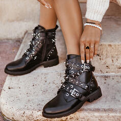 Women's PU Low Heel Martin Boots High Top Round Toe With Rivet Buckle shoes
