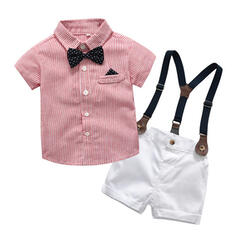 2-pieces Baby Boy Bow Button Striped Cotton Set