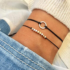 Simple Alloy Braided Rope Bracelets (Set of 2)