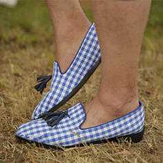 Women's PU Flat Heel Flats With Braided Strap Splice Color shoes