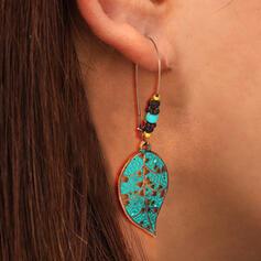 Leaves Shaped Boho Alloy Beads Women's Earrings 2 PCS