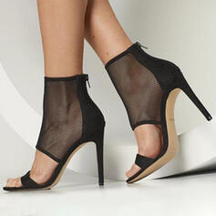 Women's Suede Stiletto Heel Peep Toe With Hollow-out shoes