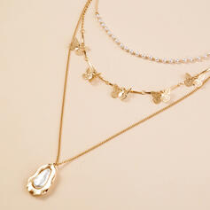Butterfly Design Delicate Alloy Imitation Pearls With Gem Butterfly Jewelry Sets Necklaces 3 PCS