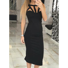 Solid Sleeveless Bodycon Little Black/Sexy/Party Midi Dresses