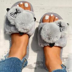 Women's Velvet Flat Heel Sandals Peep Toe Slippers With Faux-Fur shoes