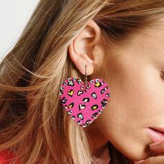 Shining Heart Valentine's Day Alloy Rhinestones Leather Women's Earrings 2 PCS