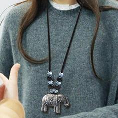Exotic Boho Alloy Turquoise Braided Rope Wooden Beads With Elephant Necklaces