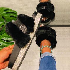 Women's Velvet Flat Heel Slippers With Beading shoes